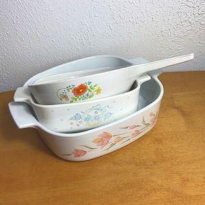 Corningware 🌻 Vintage Floral Cooking Set of 3